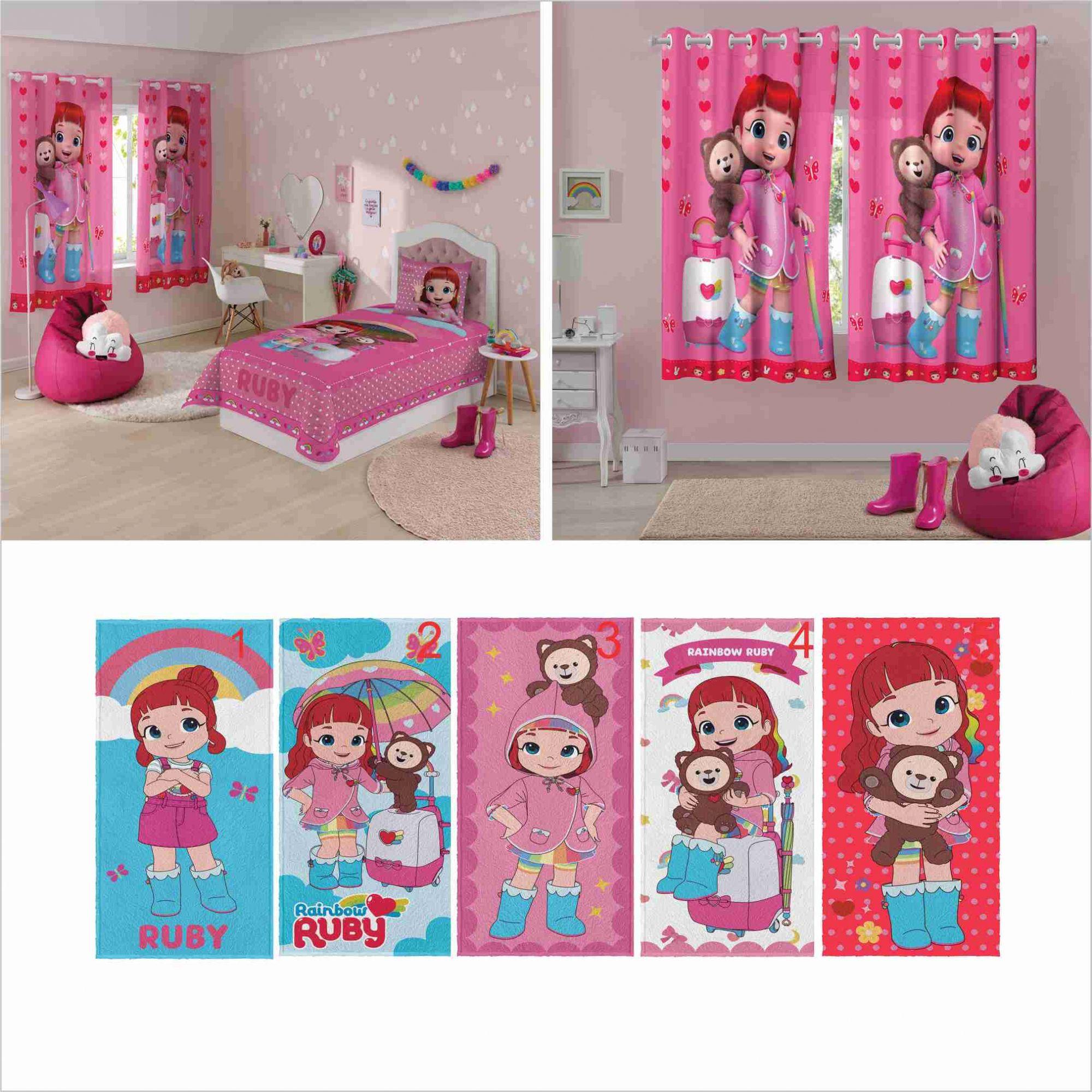 25f057e935 Jogo Cama 2pçs+ Cortina 2pç+ Toalha Rainbow Ruby Lepper - PEQUENININHOS.COM