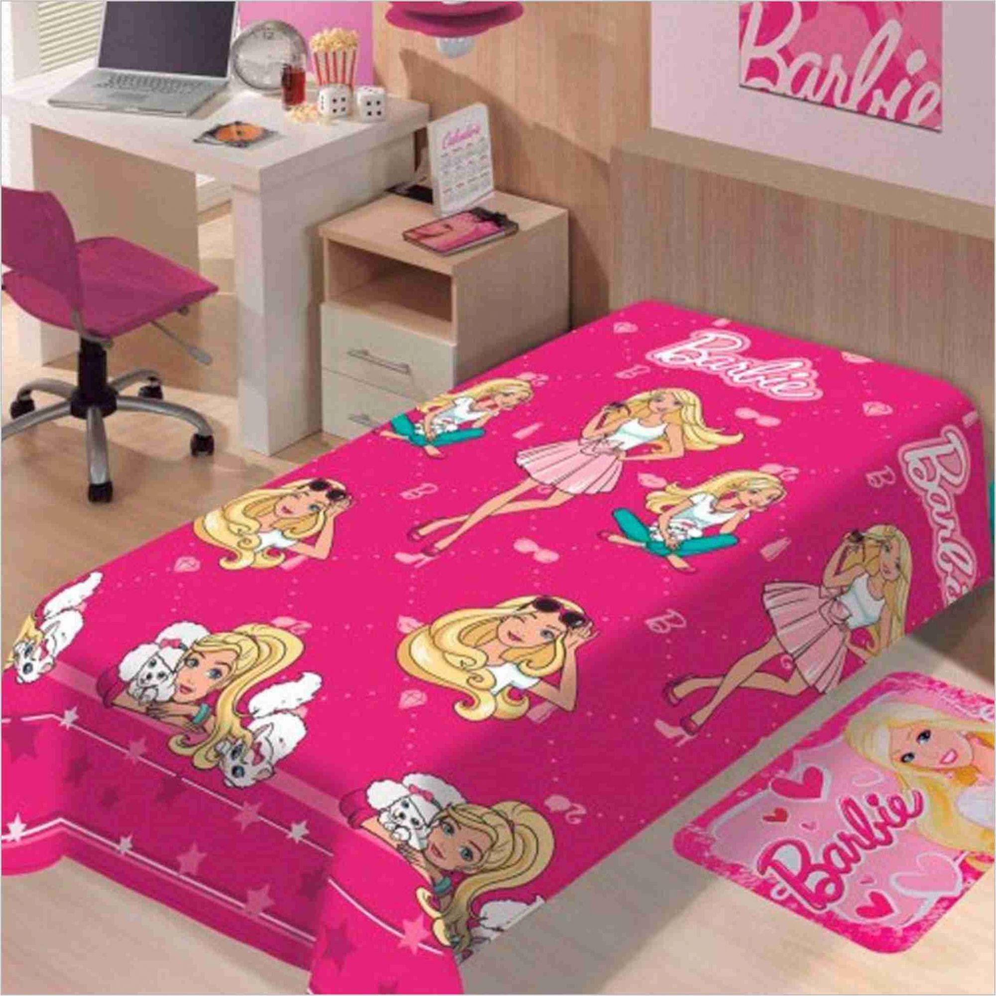 f0568175a1 Manta Soft+ Jogo Cama Lençol 2pçs+ Cortina Barbie Lepper - PEQUENININHOS.COM