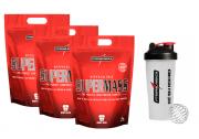Kit com 3 - Hipercalóricos - Supermass 17500 3kg, Coqueteleira - IntegralMédica - Morango