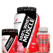 Combo 100% Whey Muscle 900g + Thermo Abdomem 120tabs + Creatina 20days 70g - Body Action - Morango