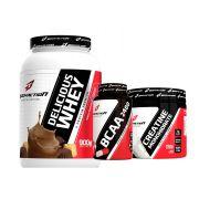 Combo Delicious Whey (900g) + Creatina (150g) + BCAA (100 caps) - Body Action - Vitamina de Pera
