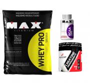 Combo Whey Pro (1,5kg) + BCAA 2400 (100cáps) + Creatine (150g) - Max e Body Action - Morango