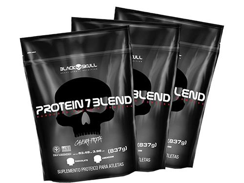 3 Protein 7 Blend Caveira Preta Refil (837g) - Amendoim