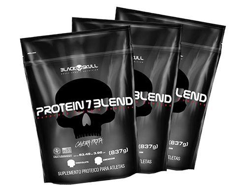 3 Protein 7 Blend Caveira Preta Refil (837g) - Chocolate
