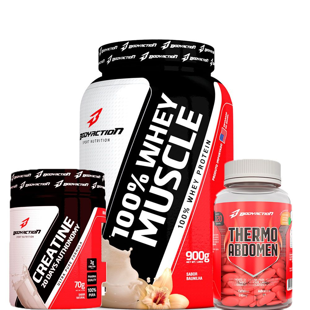 Combo 100% Whey Muscle 900g + Thermo Abdomem 120tabs + Creatina 20days 70g - Body Action - Baunilha