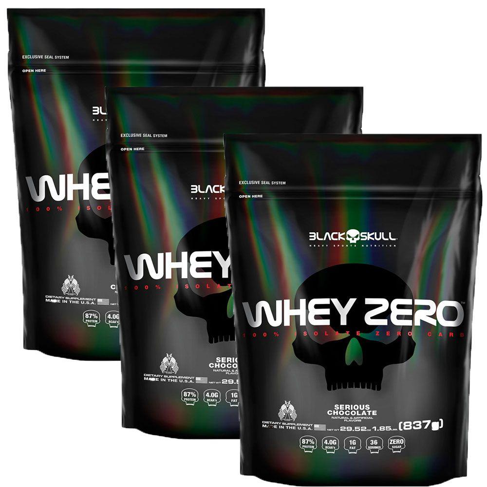 combo 3unidades de  Whey Zero Refil 837g - Black Skull - Cookies