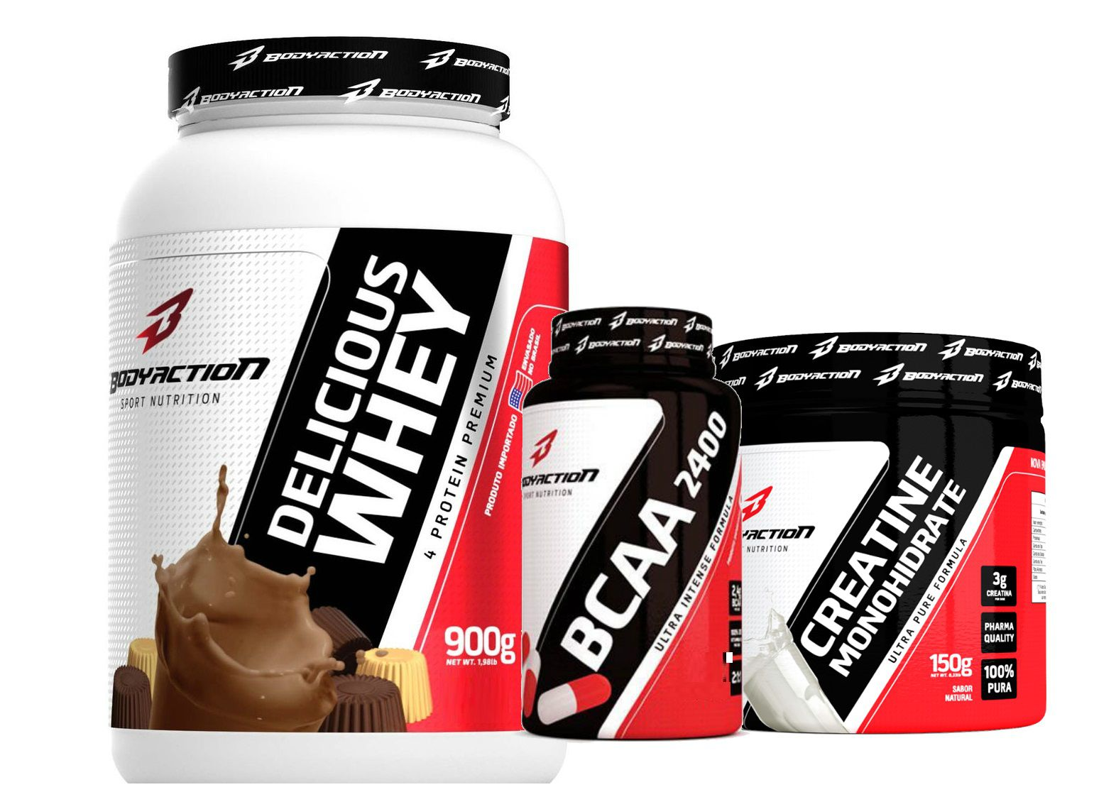 Combo Delicious Whey (900g) + Creatina (150g) + BCAA (100 caps) - Body Action - Chocolate