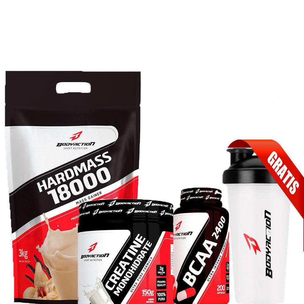 Combo Hard Mass 3Kg + Creatina 150g + BCAA 100 Cápsulas + Coqueteleira - Body Action - Morango
