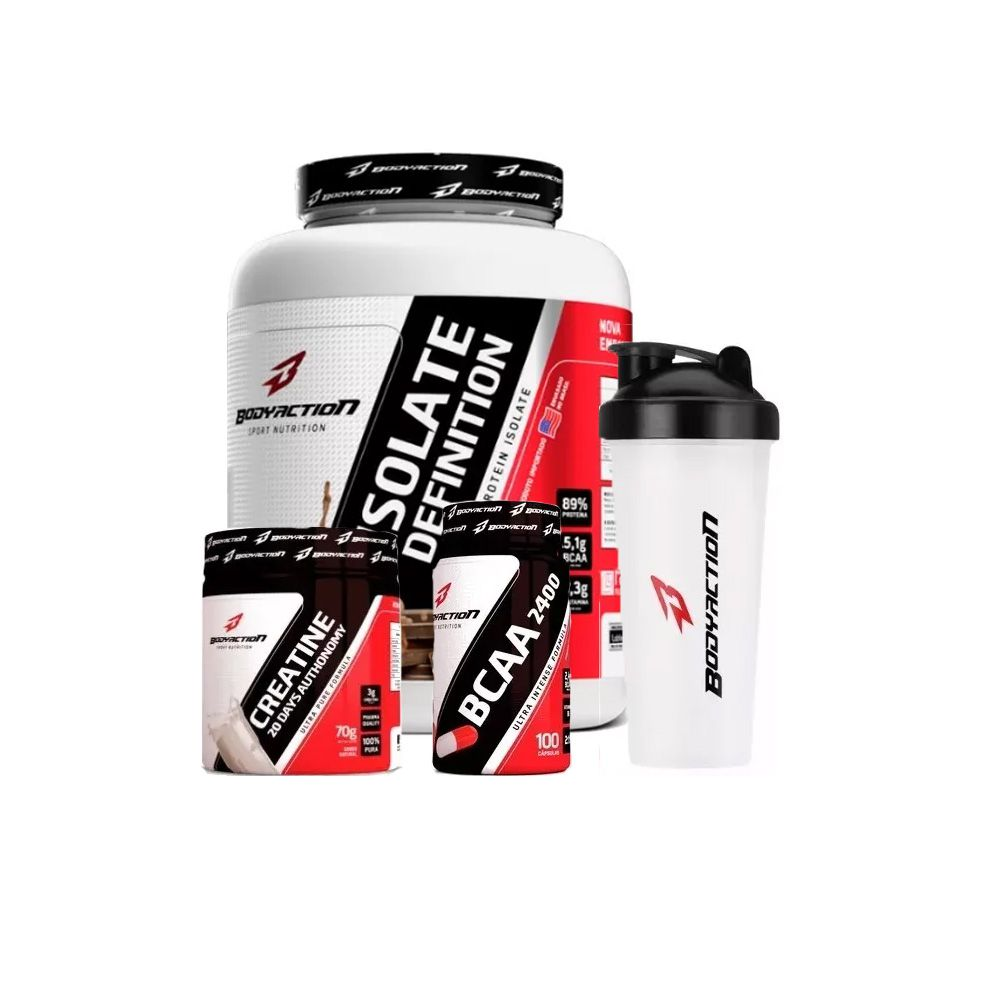 Combo Isolate Definition 2kg + BCAA 100 Cápsulas + Creatina 70g + Coqueteleira - Body Action