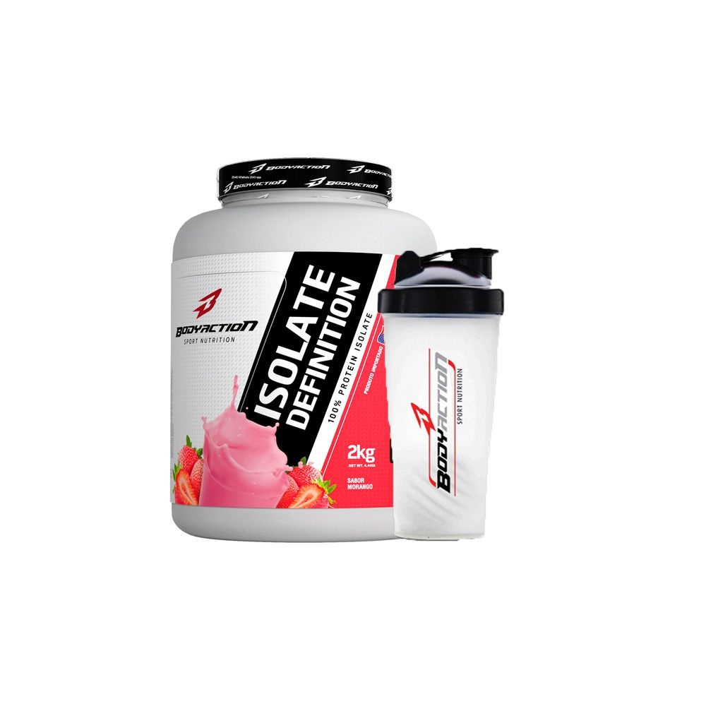 Combo Isolate Definition 2kg + Coqueteleira - Body Action - Morango
