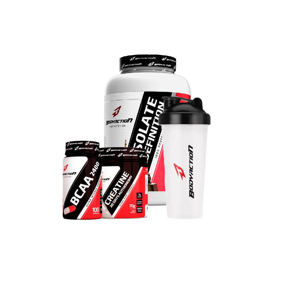 Combo Isolate Definition 900g + Creatina 70g + BCAA 100caps + Coq. - Body Action