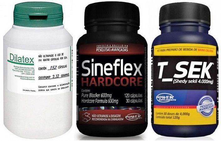 Combo Sineflex Hardcore + T-sek + Dilatex - Power Supplements