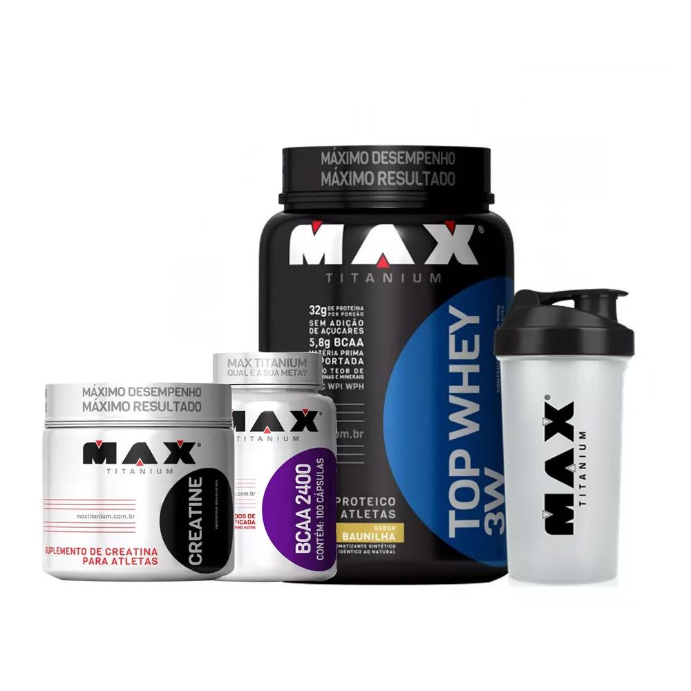 Combo Top Whey 3W 900g + BCAA 2400 100caps + Creatina 150g + Coq. - Max Titanium - Vitamina de frutas
