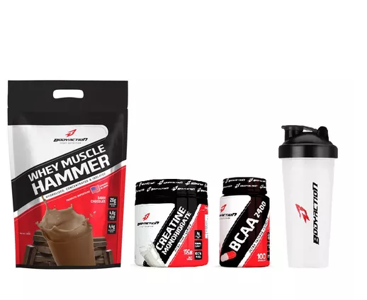 Combo Whey Muscle Hammer (1,8kg) + Creatina (150g) + BCAA (100 caps) + Coq. - Body Action - Morango
