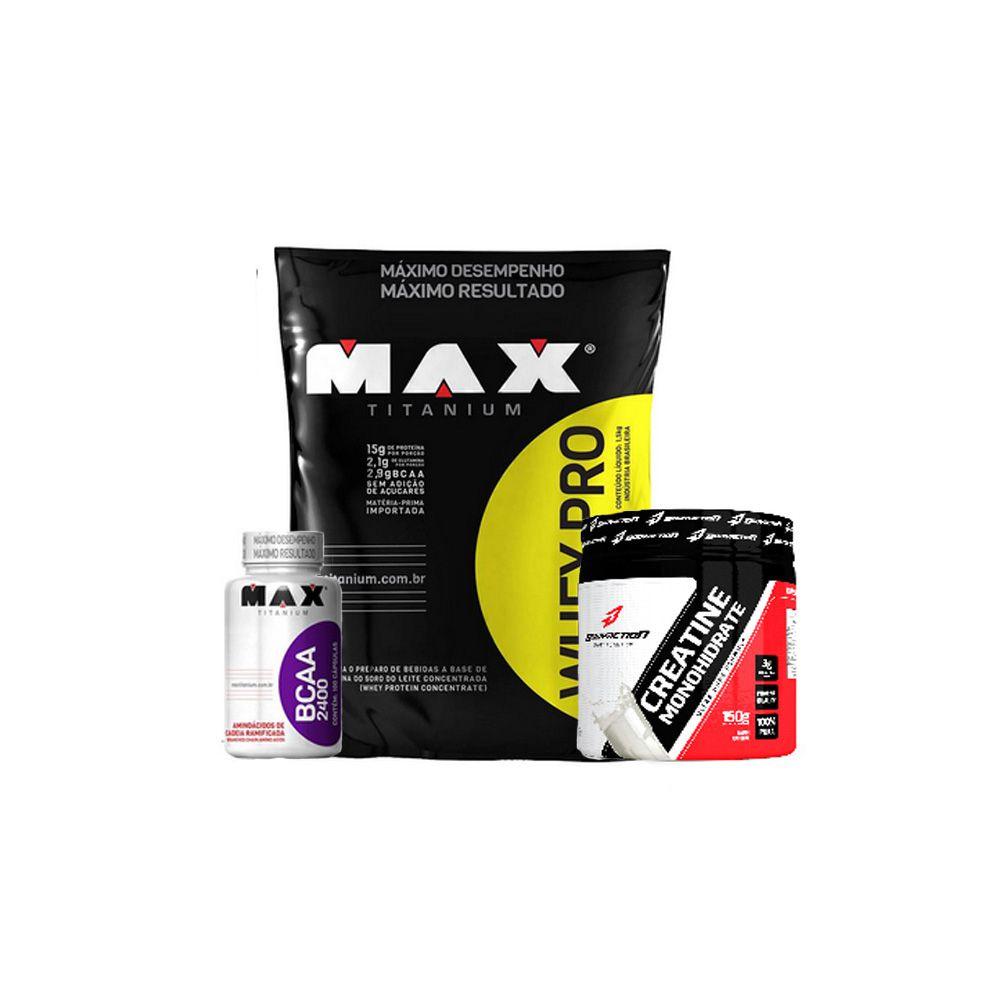Combo Whey Pro (1,5kg) + BCAA 2400 (100cáps) + Creatine (150g) - Max e Body Action - Chocolate