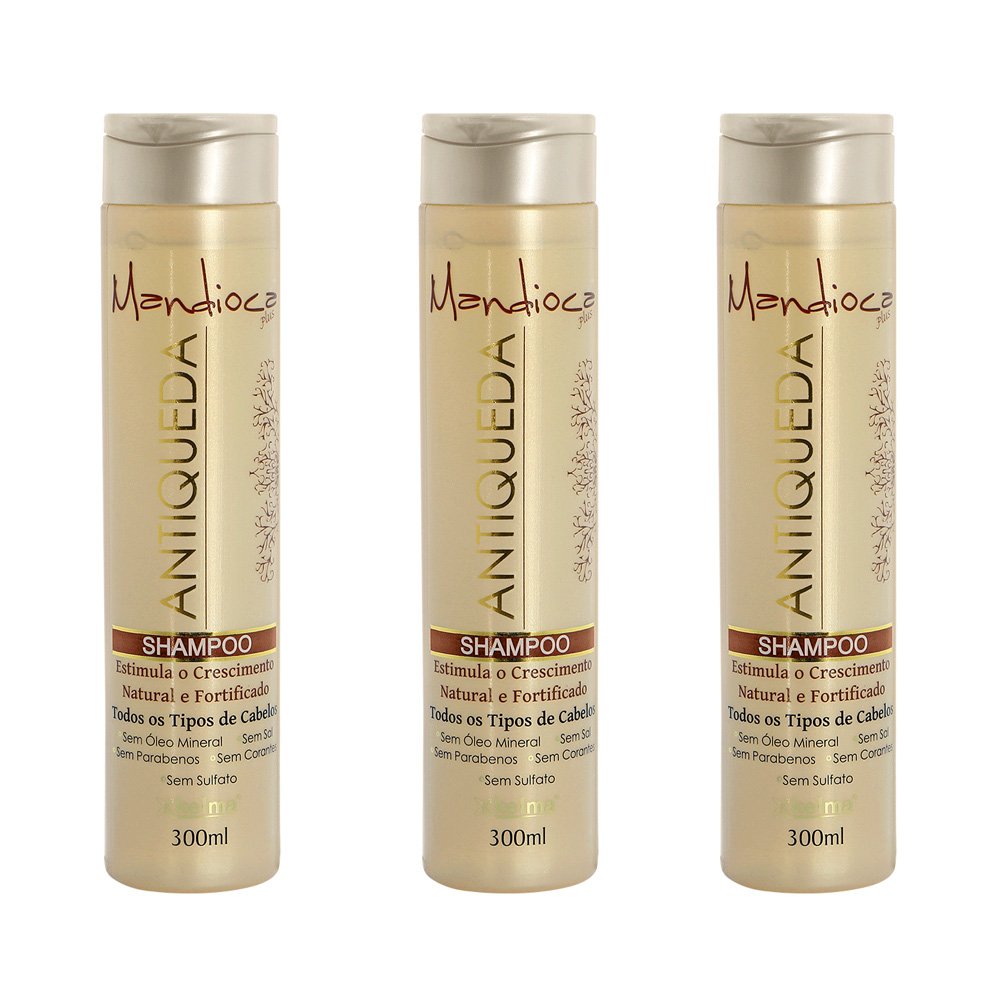 Kit 3 Shampoo Antiqueda Mandioca 300ml - Kelma