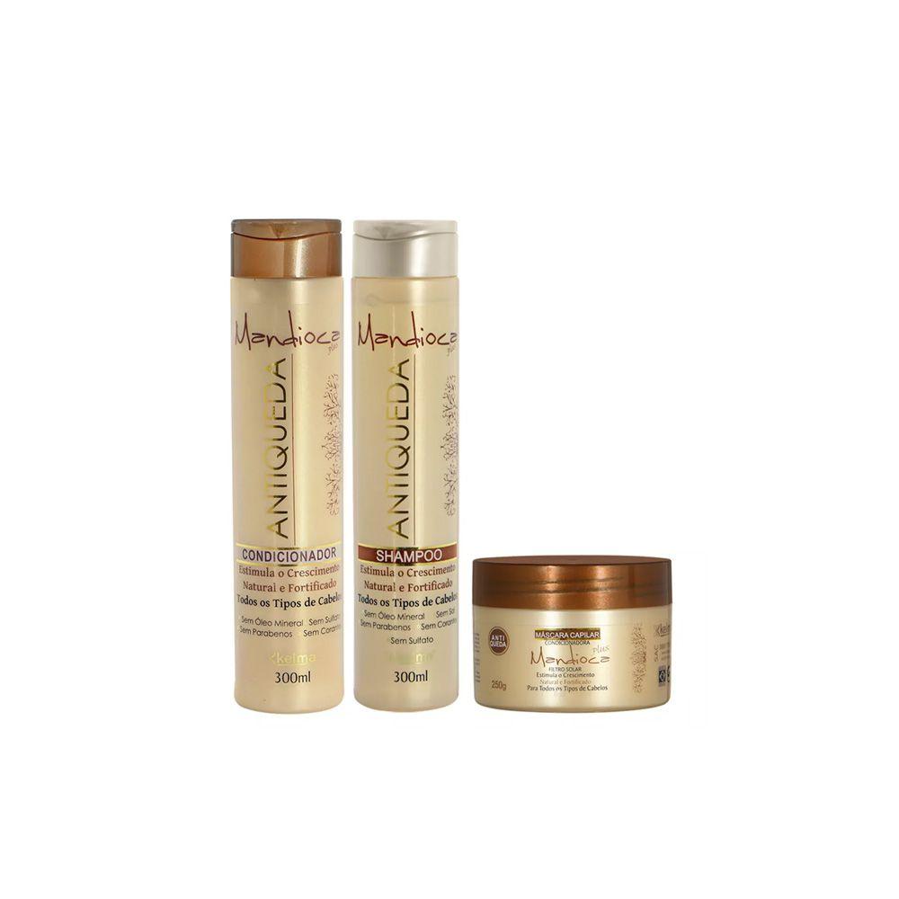 Kit Antiqueda Mandioca - Shampoo, Condicionador, Máscara - Kelma