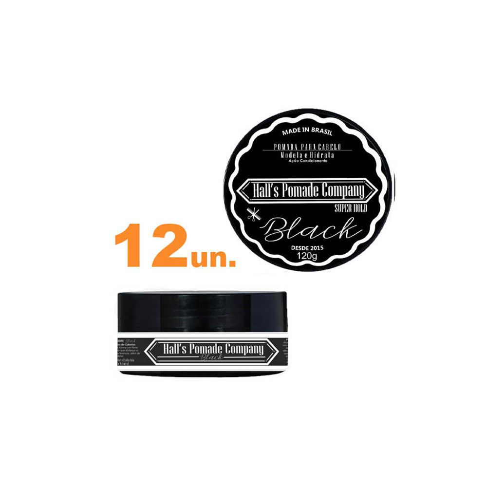 Kit com 12 - Pomada Hall's Company BLACK 120G - Kelma