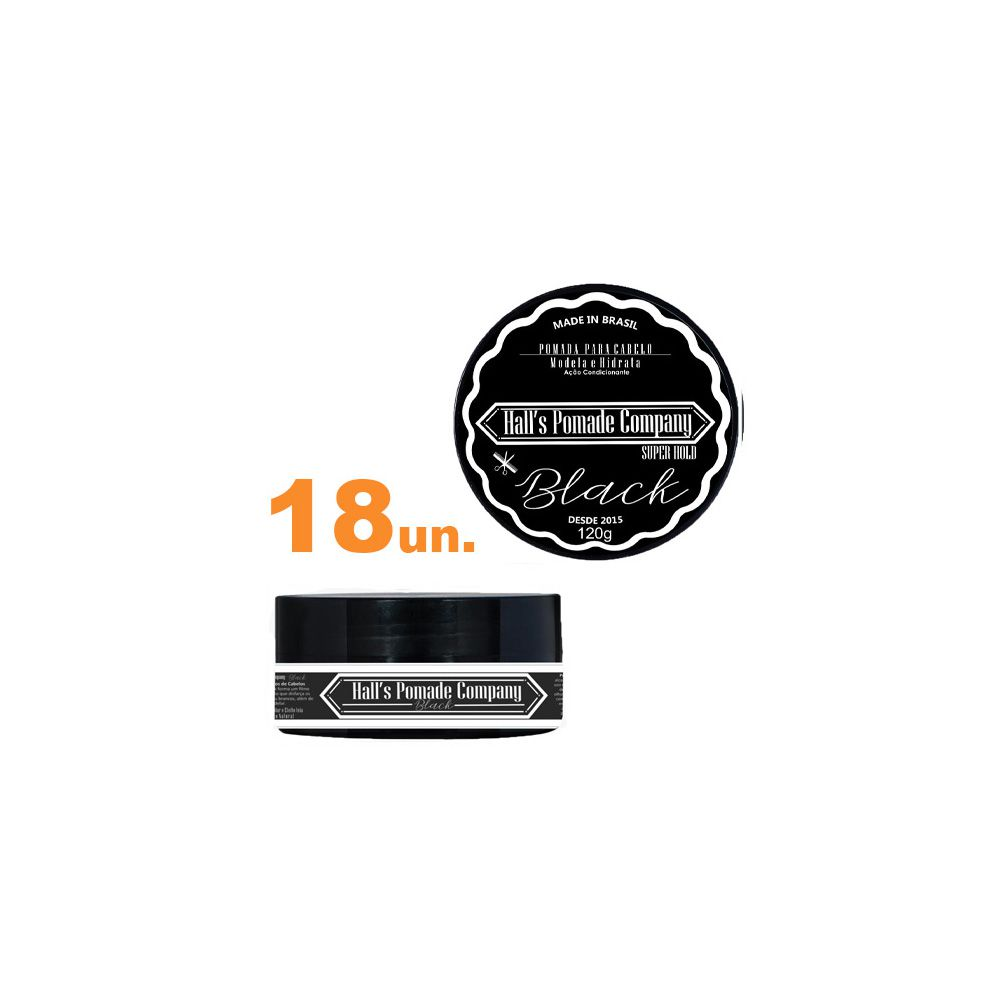 Kit com 18 - Pomada Hall's Company BLACK 120G - Kelma