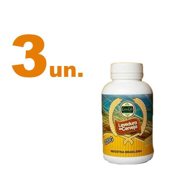 Kit com 3 - Levedura de Cerveja 220g - LevLife - 400 Comprimidos