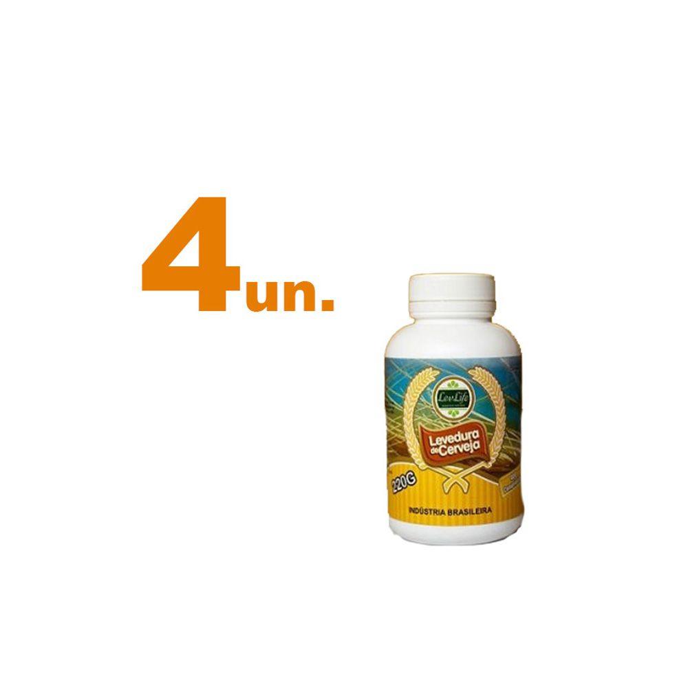 Kit com 4 - Levedura de Cerveja 220g - LevLife - 400 Comprimidos