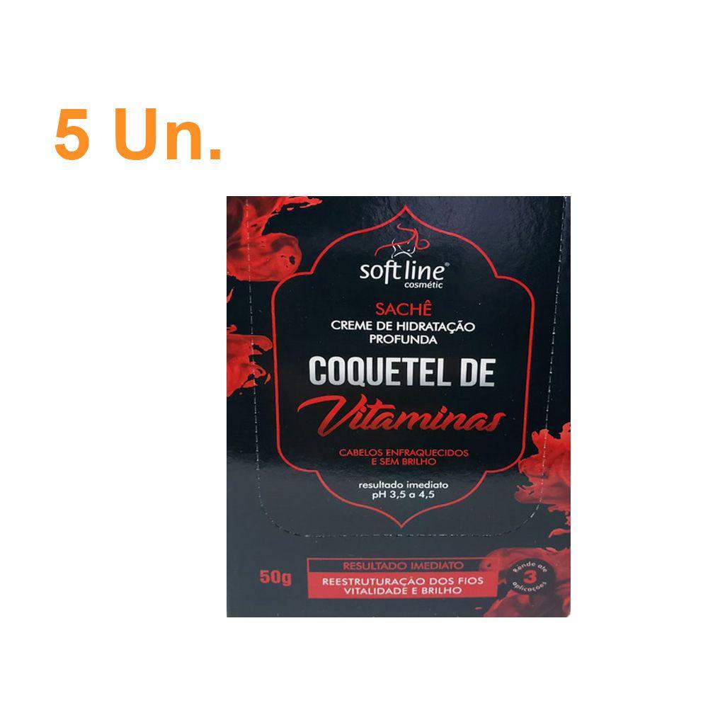 Kit com 5 Sachês Creme de Hidratação profunda Coquetel de Vitaminas - Soft Line