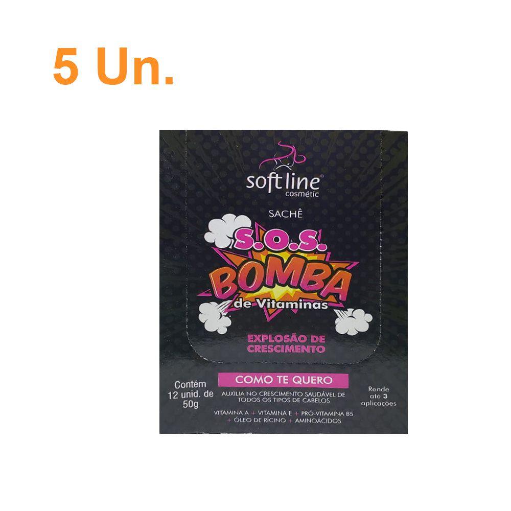 Kit Com 5 Sachês de Creme de Hidratação profunda SOS Bomba - Soft Line