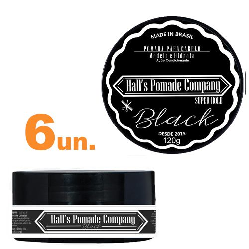 Kit com 6 - Pomada Hall's Company BLACK 120G - Kelma