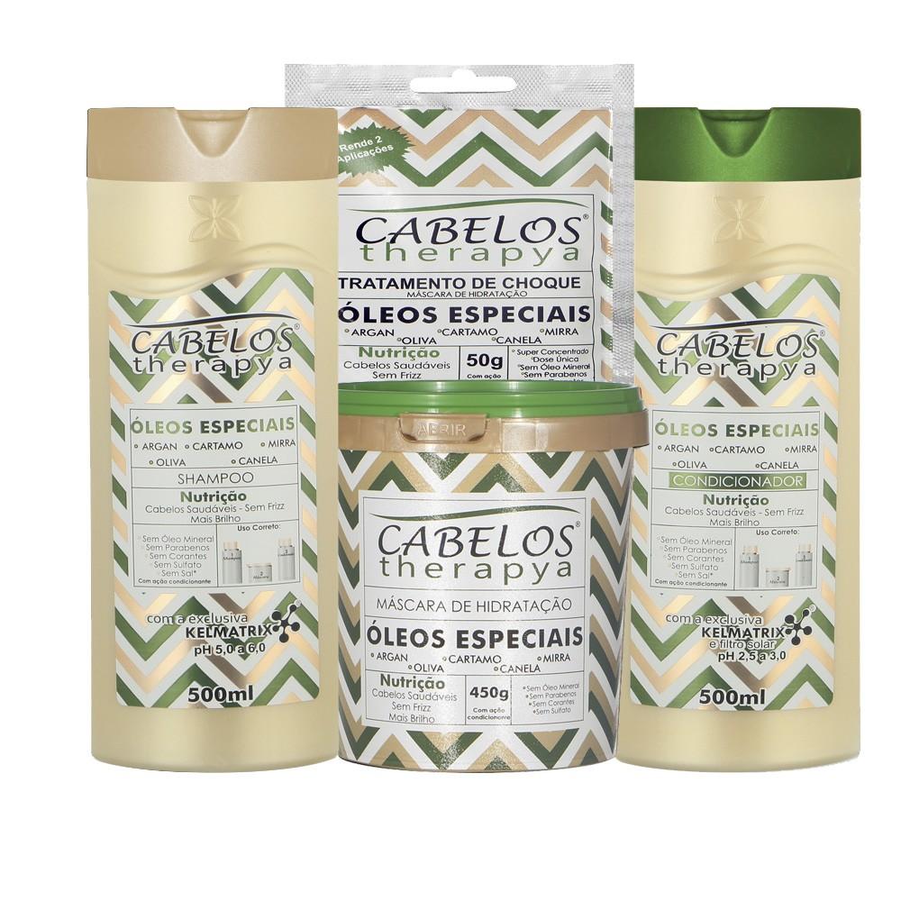 Kit Completo Cabelos Therapya - Óleos Especiais - Kelma 04 itens