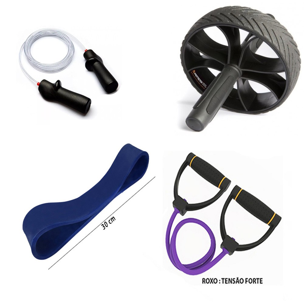 Kit Fitness Prottector Hardcore - corda pro + extensor + rubber band + roda