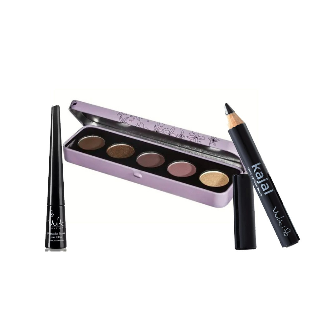 Kit Vult - Paleta de Sombras Beleza, Delineador Líquido e Lápis para Olhos Kajal  - 037
