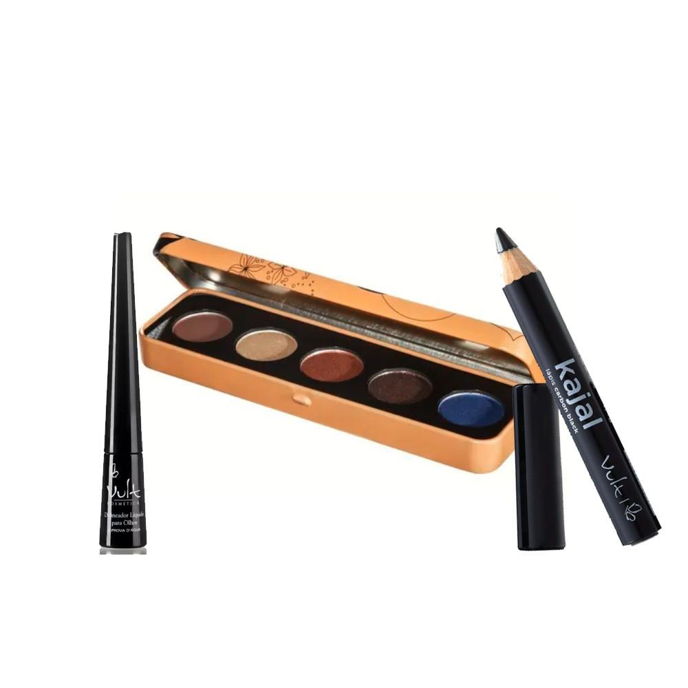 Kit Vult - Paleta de Sombras Confiança, Delineador Líquido e Lápis para Olhos Kajal  - 040