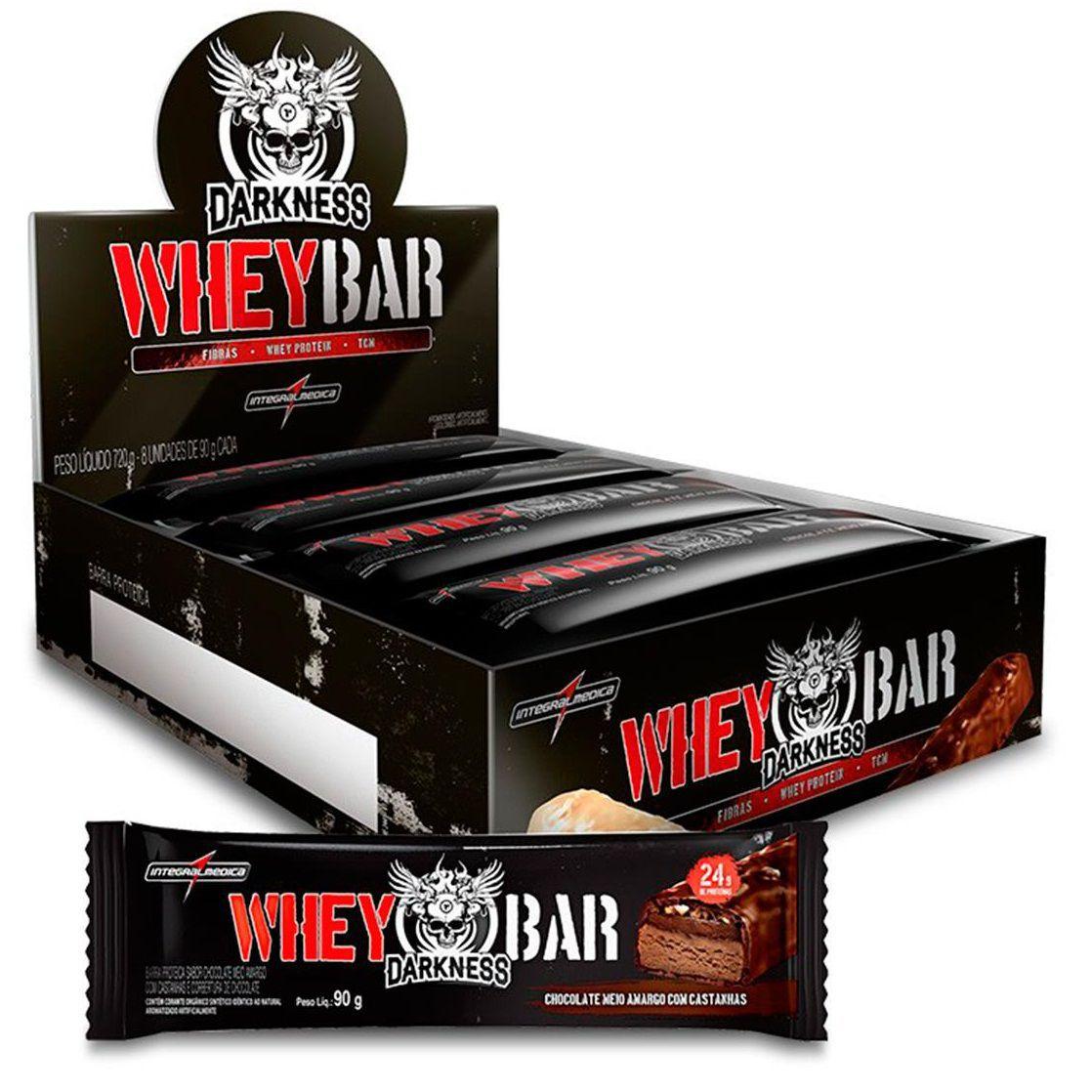 Whey Dark Bar Darkness (caixa c/ 8) - Frutas Vermelhas - IntegralMédica