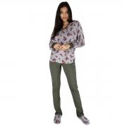 Pijama em Plush Floral com Calça em Moletinho