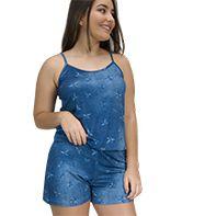 Macaquinho Viscolycra Estampa Jeans