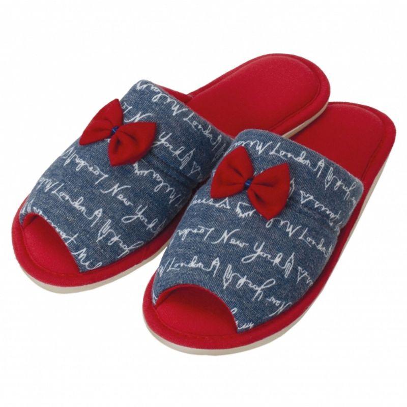 Pantufa Levite Malha Jeans com Laço