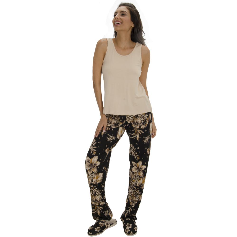 Pijama Regata com Calça em Viscolycra Floral