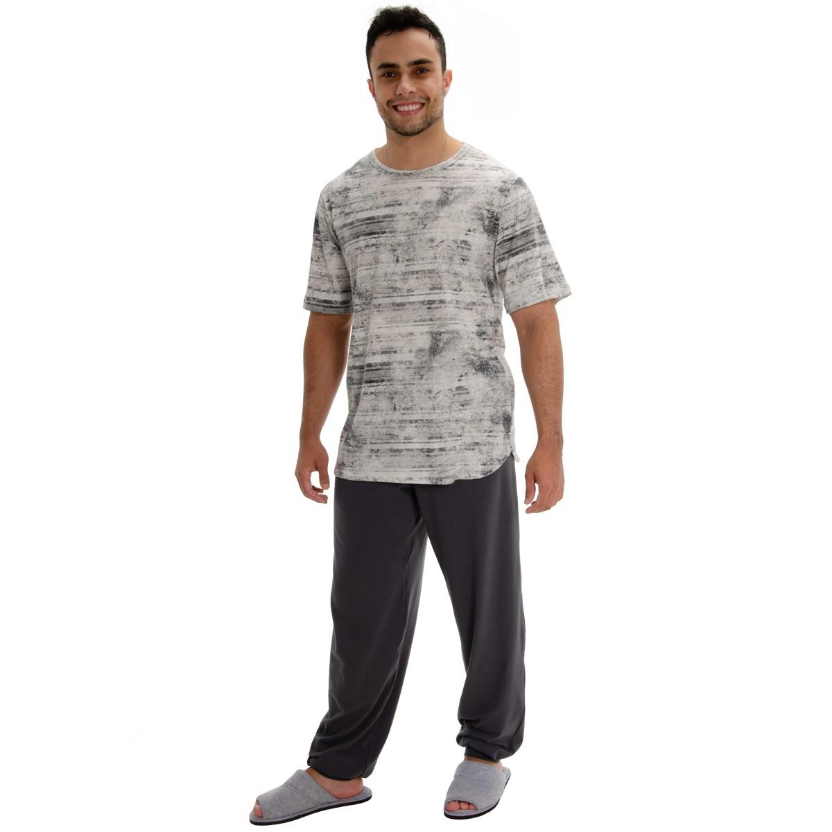 Pijama Masculino Malha Estampada Manga Curta