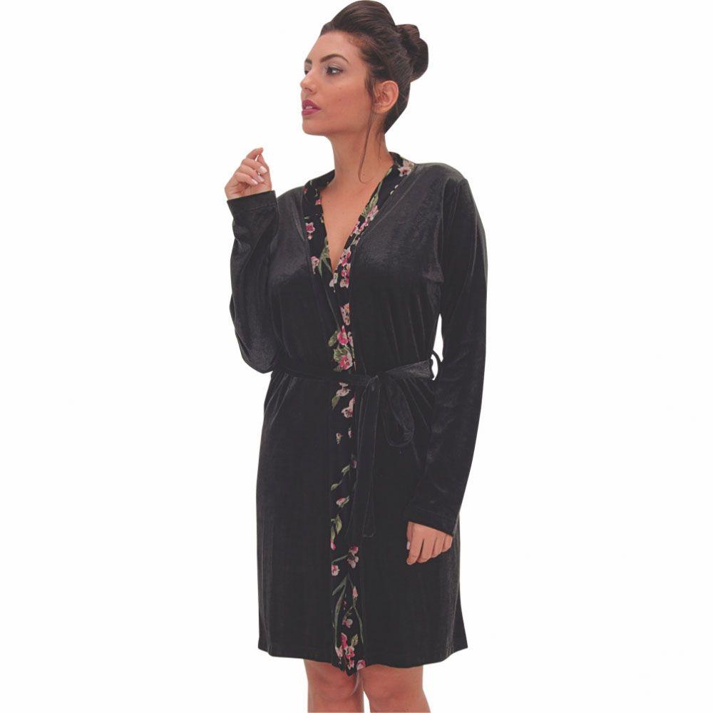 Robe em Plush efeito Brilho com Detalhe em Estampado