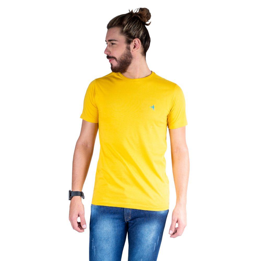 996016a79c856 Camiseta Hipica Polo Club Gola Careca Bordado Cavalo Mostarda