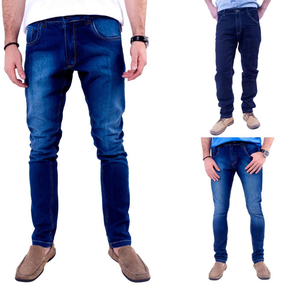 27370df9c08e02 Kit 3 Calças Jeans Sortido Skinny Masculinas Baratas Cores Sortidas ...