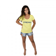 Camiseta Abençoada Algodão Amarela Tempt