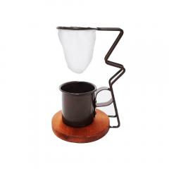Coador de Café em Pano Reutilizável Suporte e Xícara Preto