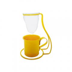 Coador de Café Pano Reutilizável Suporte e Xícara Amarelo