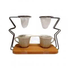 Coador Duplo de Café Pano Reutilizável Suporte e Xícaras
