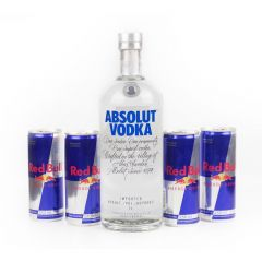 Combo de 1 vodka Absolut com 4 energéticos Red Bull