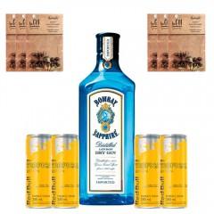 Kit 1 Gin Bombay Sapphire com 4 Energéticos Red Bull Tropical e 6 Especiarias sabor Aromatic