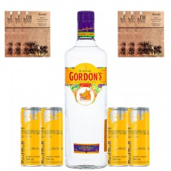 Kit 1 Gin Gordon's London Dry com 4 Energéticos Red Bull Tropical e 6 Especiarias sabor Aromatic