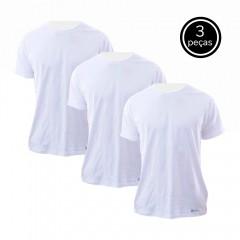 Kit 3 Camisetas Básicas Brancas 100% Algodão - Nepan