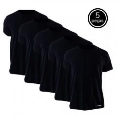 Kit 5 Camisetas Básicas Pretas 100% Algodão - Nepan